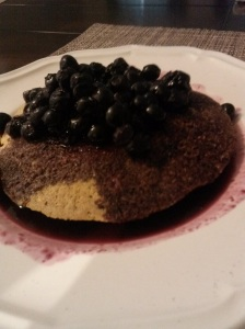 Blueberry-smothered pancakes