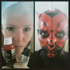 Embracing my bald head, on my way to my nephews Star Wars party.