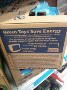 On average, every pound of recycled plastic used to make Green Toys saves enough energy to run a laptop computer for a month or a TV for 3 weeks!